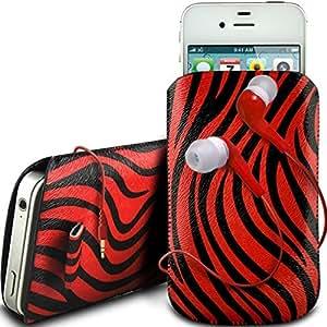 Online-Gadgets UK - Samsung Galaxy S4 Mini i8190 protector cuero de la PU de la cebra Diseño deslizamiento lengüeta de tracción del cable en caso de la bolsa con cierre rápido y 3.5mm Auriculares ergonómicos - Rojo