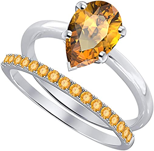 SVC-JEWELS 14k Black Gold Over 925 Sterling Silver Orange Citrine Cluster Engagement Wedding Band Ring Mens