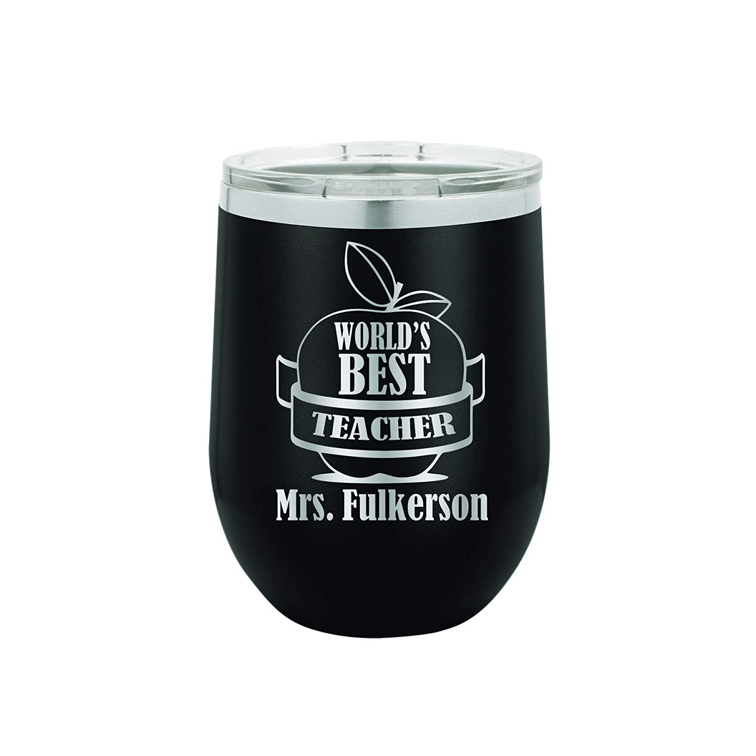 World's Best Teacher Personalized Engraved Insulated Stemless Stainless Steel 12 oz Tumbler 1960