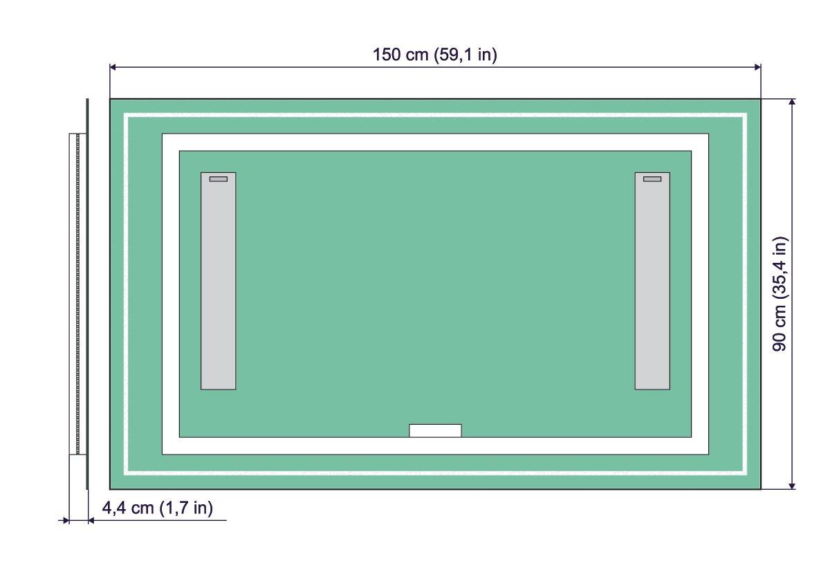 ARTTOR M1CD-07-40x40 Dimensioni dello Specchio 40x40 cm Specchio con Illuminazione Interruttore tattile Bianco Caldo 3000K Specchio per Bagno Specchio a Muro Specchio LED Deluxe