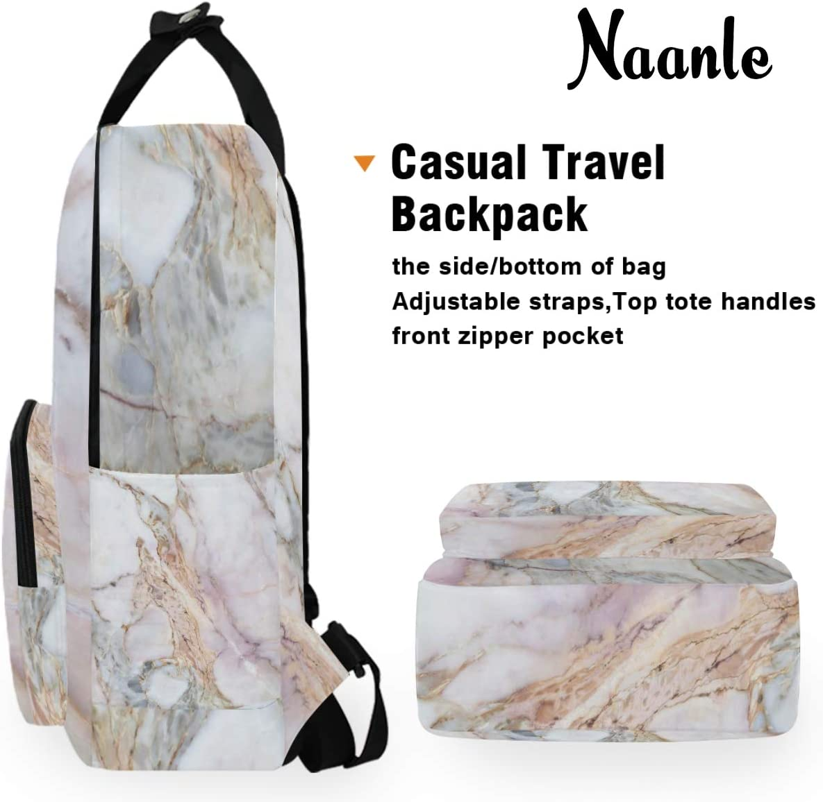 Naanle Marble Laptop Backpack Book Bag Marble College School Computer Daypack Casual Durable Travel Bag for Women Men Business Fit 14 Inch Laptop