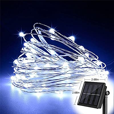 T HomeLight Solar String Lights, White 300Leds 30M / 100FTWaterproof, 8 Modes, Copper Wire High Efficiency Durable Fairy Outdoor String Lights White for Garden, Patio, Wedding and Christmas Party