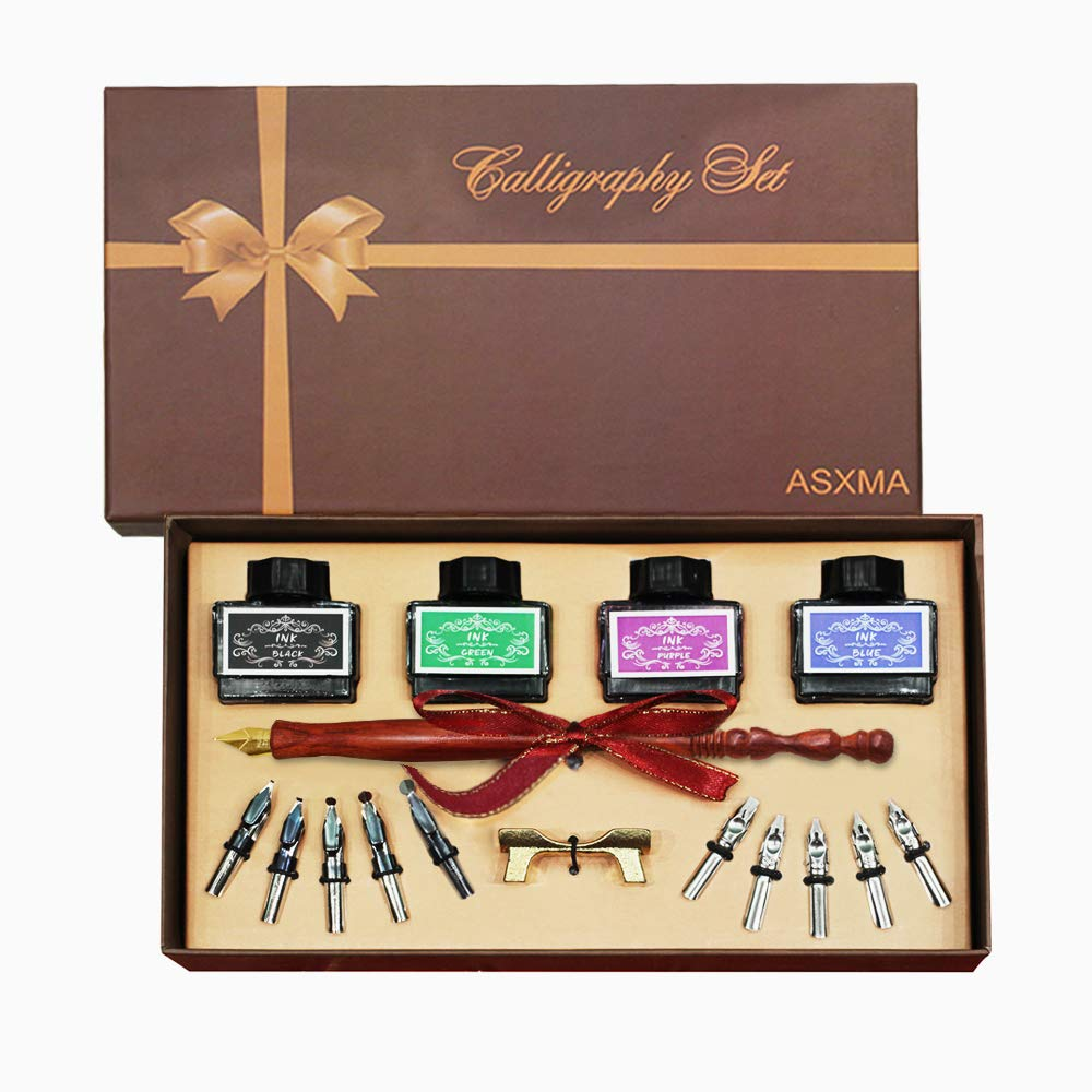 New model wooden calligraphy pen set, which Includes the pen nib as well as four different ink colors. Suitable for use by all ages, and experience from beginner to professional.