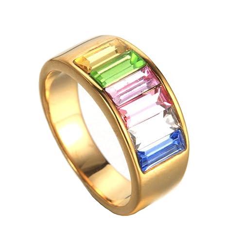 COPAUL Acero inoxidable para mujer para mujer Oro boda gay orgullo LGBT anillos para gays y