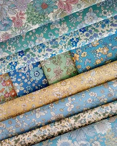 Cotton Fat (11 Fat Quarters Bundle of Lecien's MEMOIRE A PARIS 2017 Cotton Lawn Fabrics in Blue, Green and Yellow ~ 2.75 yards)