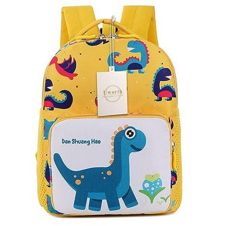 Uworth Mochila Para Niños de Dinosaurios Mochila Escolar Infantil Niño con Arnes Amarillo