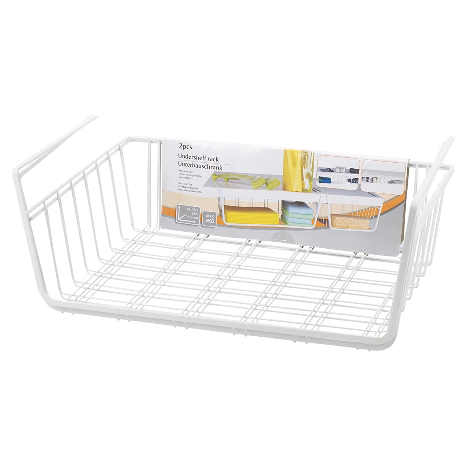 Kabalo Set of 2 Under Shelf Storage Basket Rack Kitchen Bathroom Organiser Unit