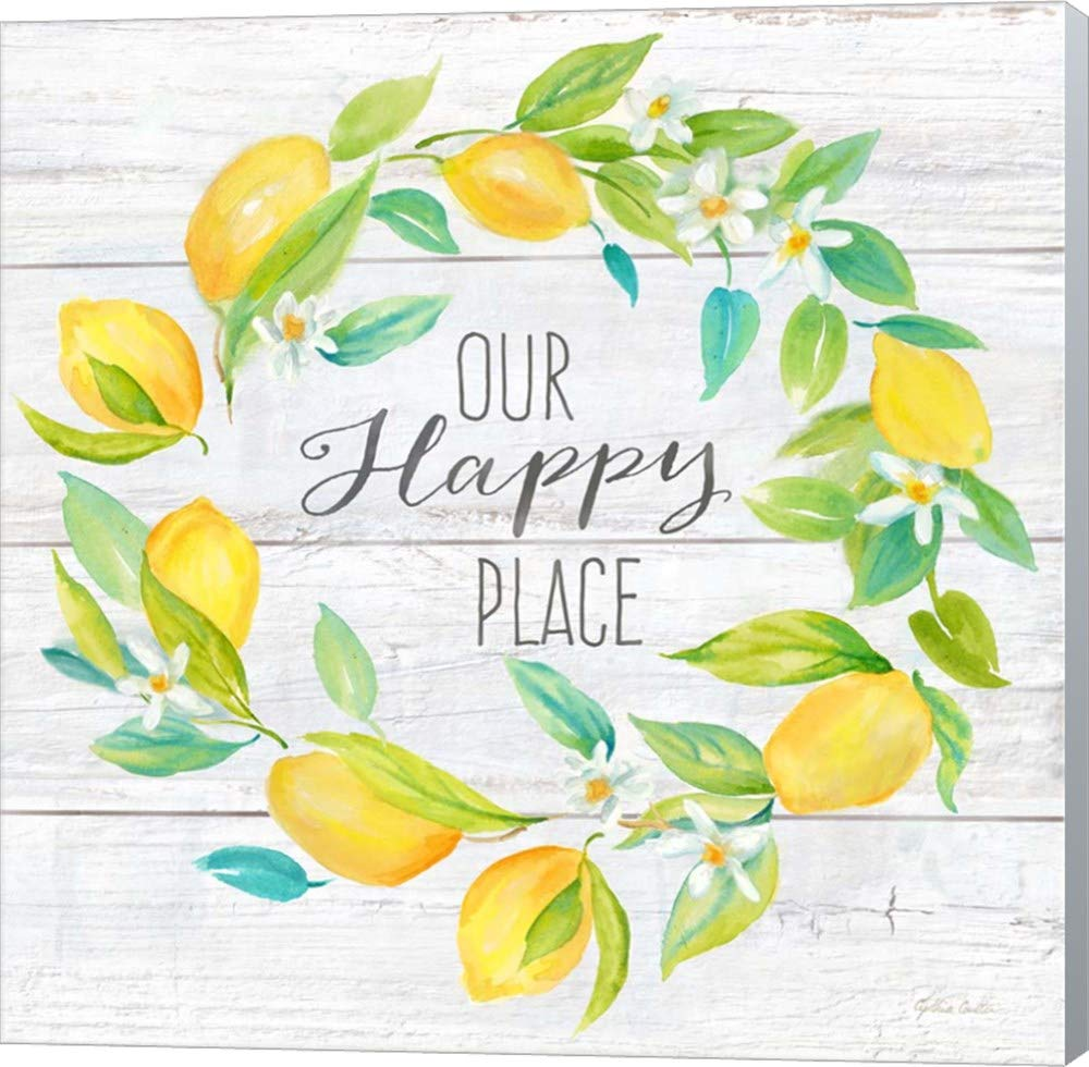 Our Happy Place Lemon Wreath by Cynthia Coulter Canvas Art Wall Picture, Museum Wrapped with Winter Gray Sides, 14 x 14 inches