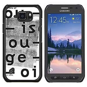 Cubierta protectora del caso de Shell Plástico || Samsung Galaxy S6 Active G890A || Cartas Periódico retro impresión blanca @XPTECH