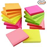 "Outuxed Sticky Notes Self-adhesive Notes Easy Stickers, 3"" x 3"", 15 Pieces, 100 Sheets/Piece, Assorted Colors"