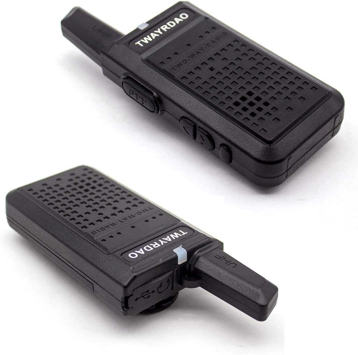2 Pack TWAYRDIO Mini Two Way Radio 2W UHF 400-470Mhz Long Range Walkie Talkie 16 Channels Small Handheld Radio for Kids//Adults