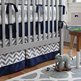 Carousel Designs Navy and Gray Elephants Crib Skirt Box Pleat 20-Inch Length