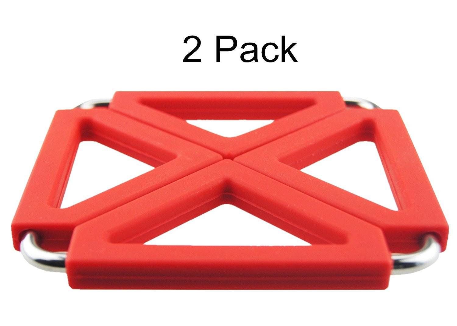 COJOY Expandable Silicone & Metal Trivet Mat, Hot Pot Holder Pads, 6.3'' Square Red, Set of 2