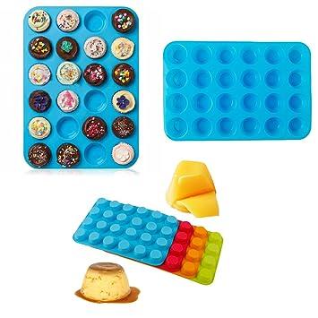 Mini magdalenas puncakes Biscuit sartenes 24 cupcakes molde de silicona tazas molde antiadherente bandeja para hornear herramientas: Amazon.es: Hogar