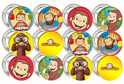 Curious George Party Favors Supplies Decorations Collectible Metal Pinback Buttons, Large 2.25