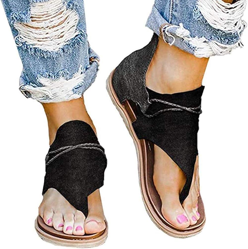 Retro Leopard Flip-Flop Sandals Frauen R/ömische Gladiator Sandalen Flache Sandalen L/ässig Sandalen Peep Toe Schuhe TWIFER Sandalen Damen Sommer Zipper Flip Flops