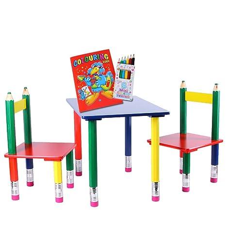 Sedie E Tavoli In Legno.Set Di 3 Tavolini Per Bambini In Mdf E Legno Massiccio Con Sedie E