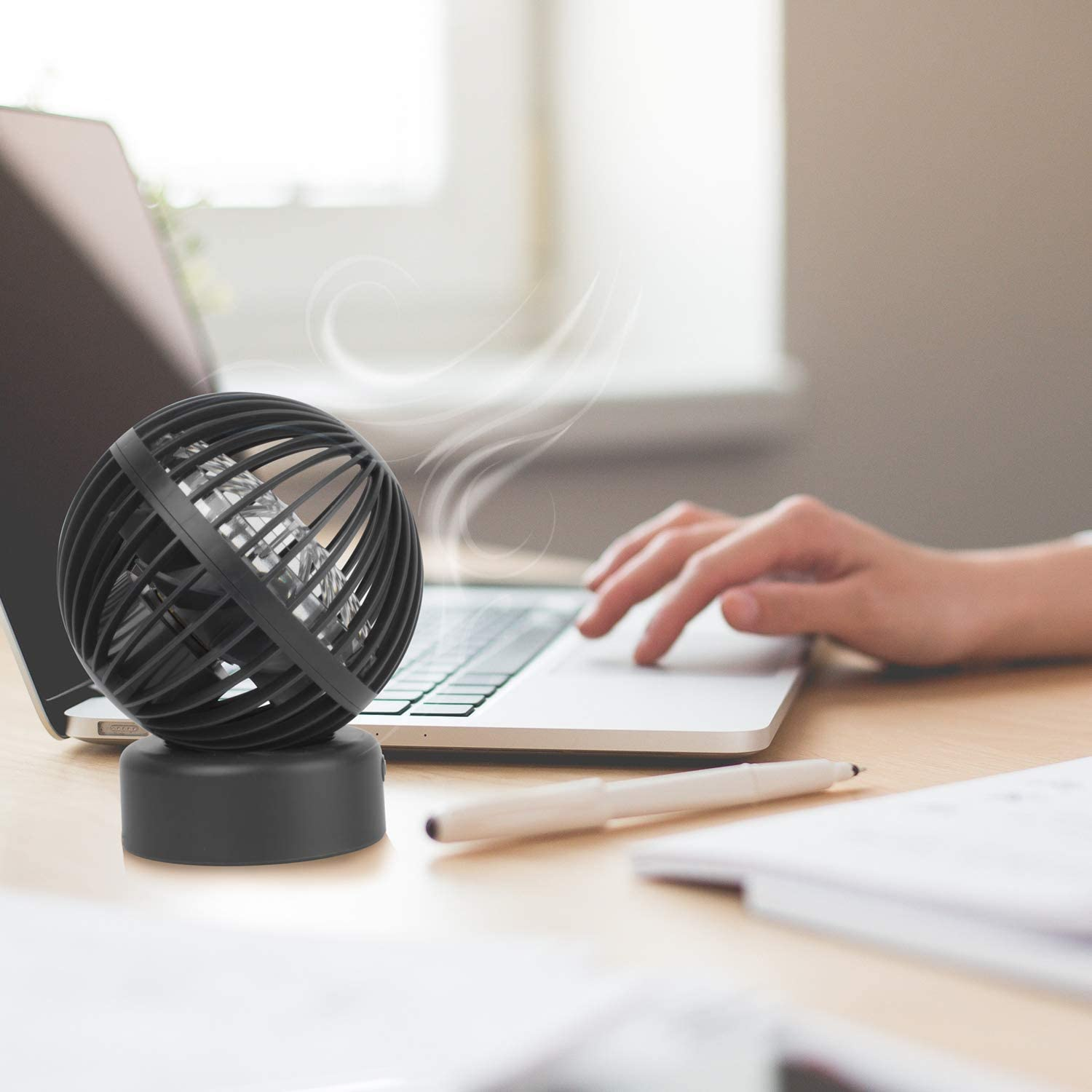 Desktop Fan Mini USB Fan with 3 speed settings ideal for Office and home Globe shape Edition with 2 years warranty/