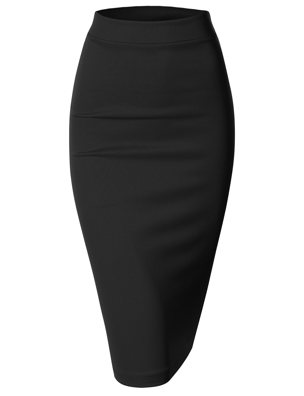 Doublju Elastic Waist Scuba Slim Fit Stretchy Pencil Midi Skirt (Plus size available)BLACK LARGE