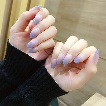 Qulin uñas postizas románticas acrílicas redondas, uñas postizas ...