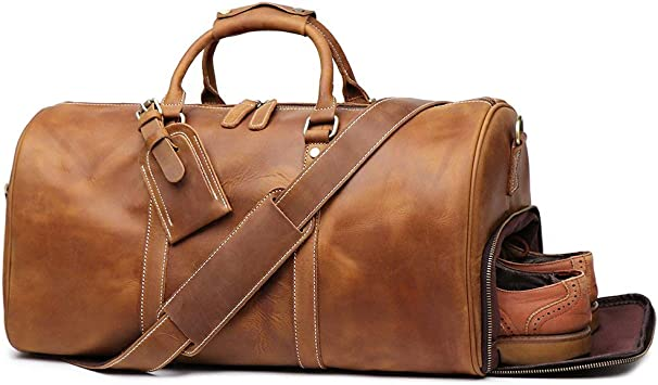 Vintage Brown Leather Bag duffel Travel Men Retro Gym Luggage Overnight Duffle