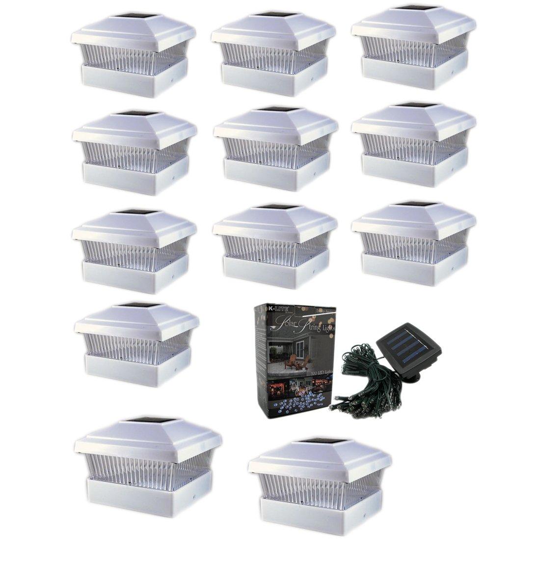 12 Pack 5x5 Outdoor Garden Solar LED (Bright White Color)Post Cap Fence Pathway Landscape Deck Square Decoration Light + Free Bonus 1- 100 LED 40Ft String Solar Decoration Solar Light Bundle
