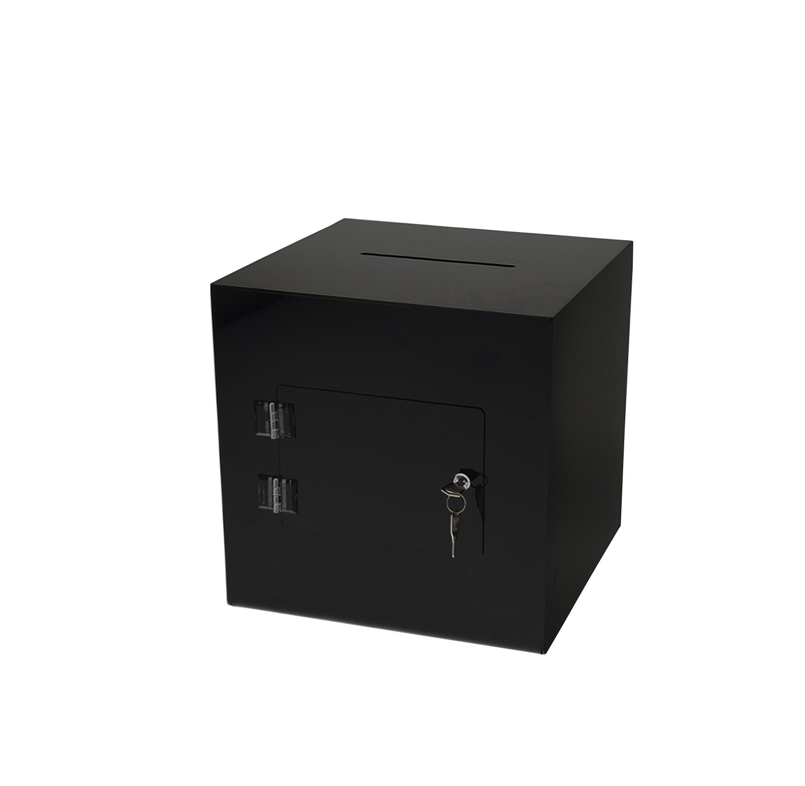 Marketing Holders 11''w x 11''h Enter To Win Raffle Offering Donation Fundraiser Suggestion Ballot Box Comment Collection Contest Cube Black
