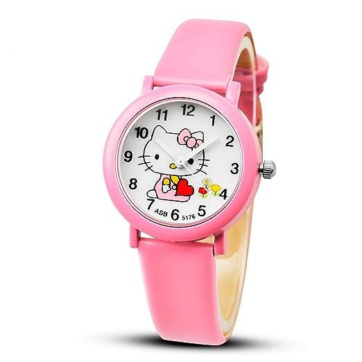 Relojes de dibujos animados Kid Girls correas de cuero reloj de pulsera niños reloj de cuarzo reloj de los niños,pink: Amazon.es: Relojes