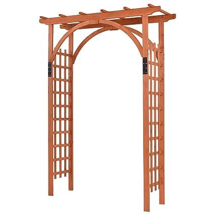 Giantex 85u0026quot; Outdoor Wooden Garden Arbor Arch Trellis Pergola Trellis  Providence Arbor