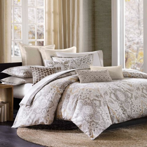 Echo Sheets - Echo Design Odyssey Duvet Cover Queen Size - Grey, Paisley Duvet Cover Set - 3 Piece - 100% Cotton Light Weight Bed Comforter Covers