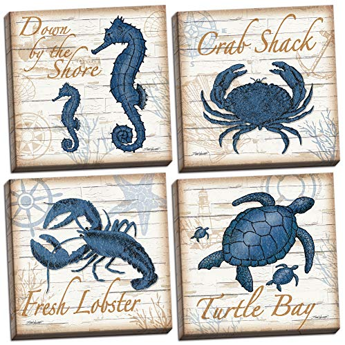 4 Under the Sea Creatures Crab Seahorse Turtle and Lobster on a Wood Print Background; Coastal Decor Set, Four 12 by 12-Inch Canvases; Ready to hang! Blue/Brown ()