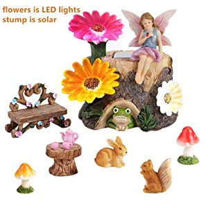 HDNICE Fairy Garden Accessories Kit - Miniature Flower Stump and Figurine Hand Painted Set for Fairy, Animals, Mushroom,Teacup set, Table and Chair Set - with Magical Glow in The Dark Solar LED Lights