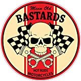 Mean Old Bastards Hot Rods Motorcycles Racing Skull Pistons full color window decal sticker