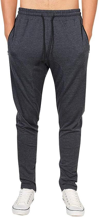 Moda Color Sólido Hombre Pantalones Largos Deportivos ...