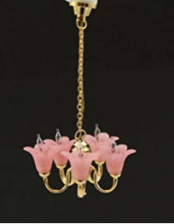 Melody Jane Dollhouse 5 Arm Chandelier Cranberry Tulip Shades Miniature  Electric Light