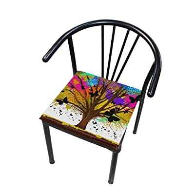 """Bardic HNTGHX Outdoor/Indoor Chair Cushion Watercolor Tree Butterfly Square Memory Foam Seat Pads Cushion for Patio Dining, 16"""" x 16"""": Home & Kitchen"""