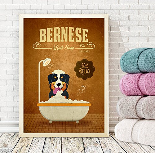 Bernese Mountain Dog Bath Soap Company Dog Artwork, Animal Artwork, Dog Poster, A3 (11.7x16.5 inches) or A3+ (13x19 inches)