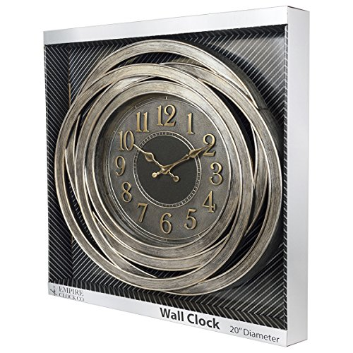 EMPIRE Clock Company 20-Inch Antique Silver Decorative Wall Clock by EMPIRE