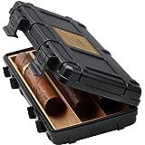 Jifeng Portable Travel cigar humidor,cedar wood waterproof riot band cigar holder cigar box, cedar wood waterproof riot band cigar holder cigar box (black)