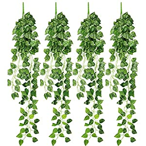 RERXN 4 Bunchs Artificial Ivy Vine Greenery Fake Hanging Plant Leaves for Indoor Outdoor Decor 82