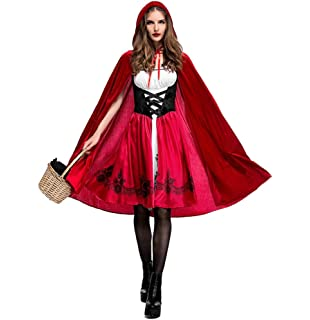 womens little red riding hood halloween cloak cosplay costume make up party dress