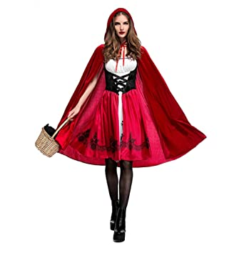 fe1683f79 Women's Little Red Riding Hood Halloween Cloak Cosplay Costume Make up  Party Dress
