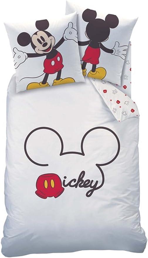 80x80 weiß schwarz Design 10006 Disney`s Mickey Mouse Satin Bettwäsche 135x200