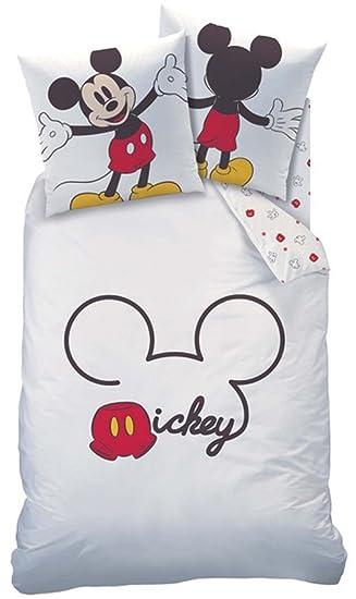 Bettwäsche Mickey Mouse Weiß Rot 135 X 200 Cm 80 X 80 Cm Amazonde