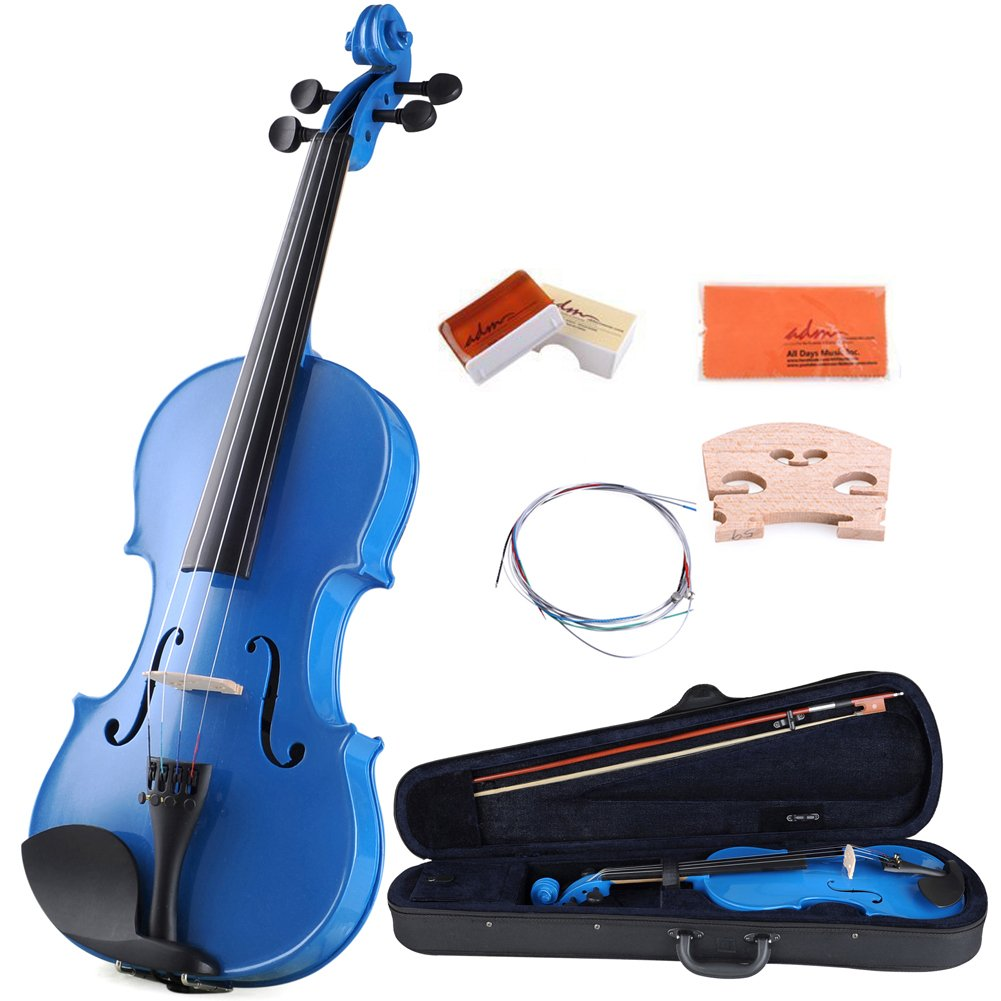 ADM Acoustic Violin 4/4 Full Size Handcrafted Solid Wood Student Starter Kits, Black