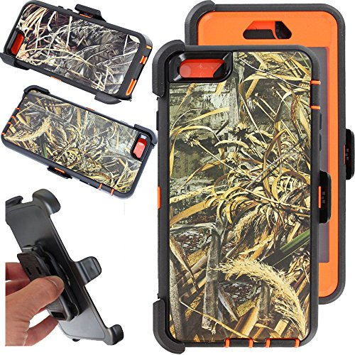 For iphone 6 Case, Kecko® Heavy Duty High Impact Weather Scratch Resistant Full Body Protective Defender Series Tree and Grass Forest Camo Hard Case Cover with Belt Clip Holster and Built-in Screen Protector for Apple iphone 6 4.7 inch (Wheat Orange)