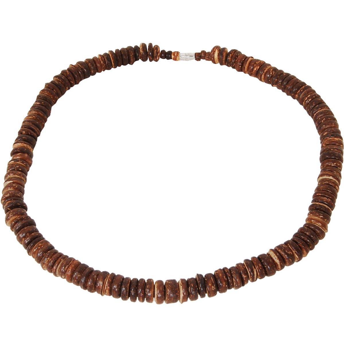 Tribal Hollywood Lanai Brown Coconut Shell Discs Hawaiian Mens Bead Choker Necklace