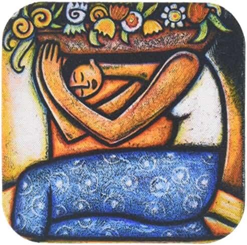 Paul Honatke Flower Girl Mexican Art Colorful Coaster, Soft, Set of 8