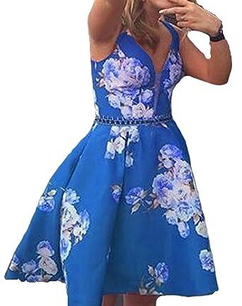 c05544ab08 BessDress V Neck Floral Print Short Homecoming Dresses Satin Beaded Party  BD305