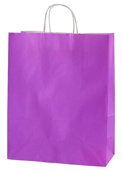 Thepaperbagstore 30 Bolsas De Papel De Colores, Reciclables Y Reutilizables, con Asas Retorcidas, Púrpura - Medianas 250x110x310mm